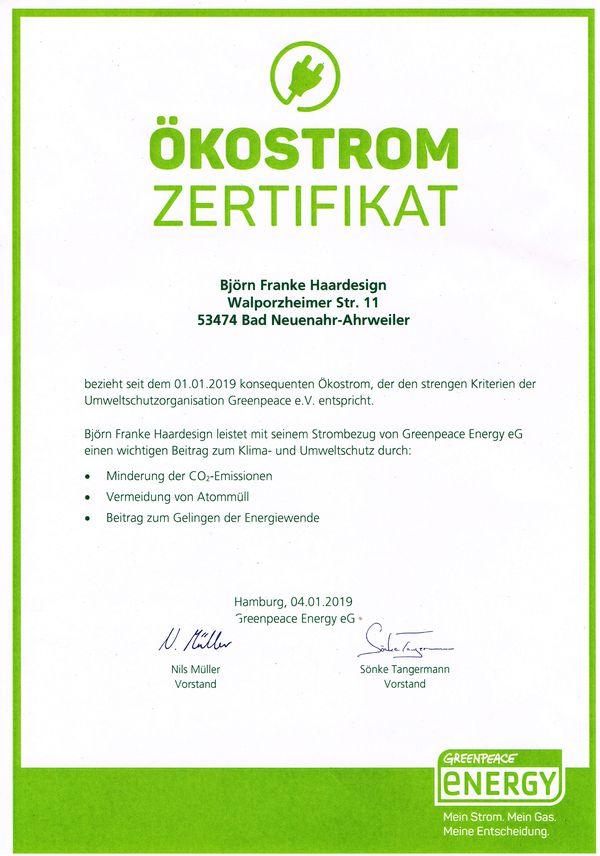 Greenpeace Energy Ökostrom Zertifikat