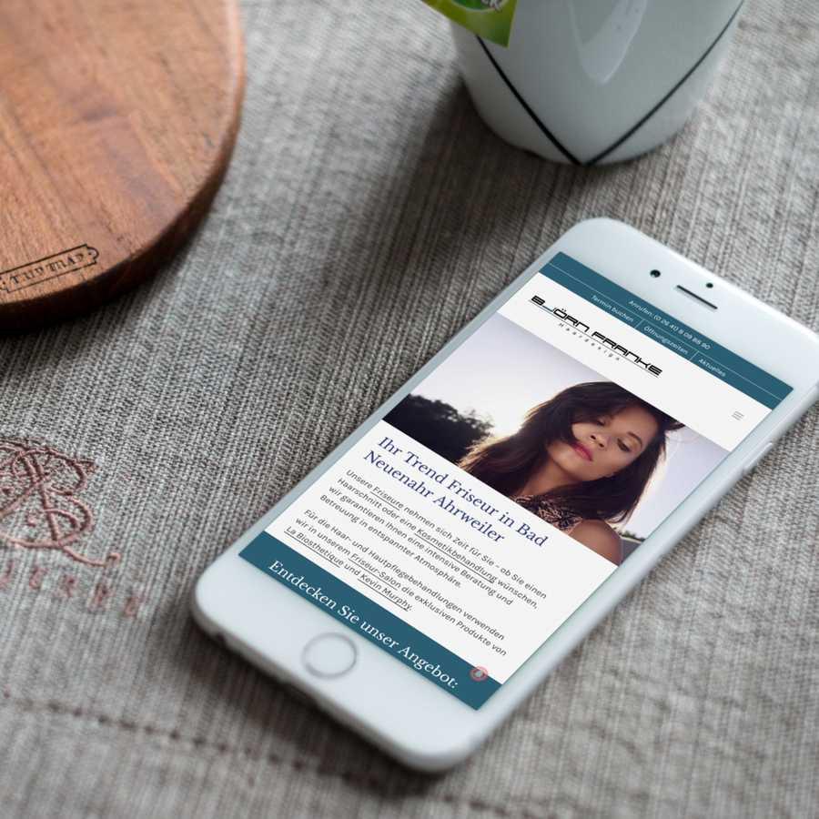 Björn Franke Homepage auf Smartphone